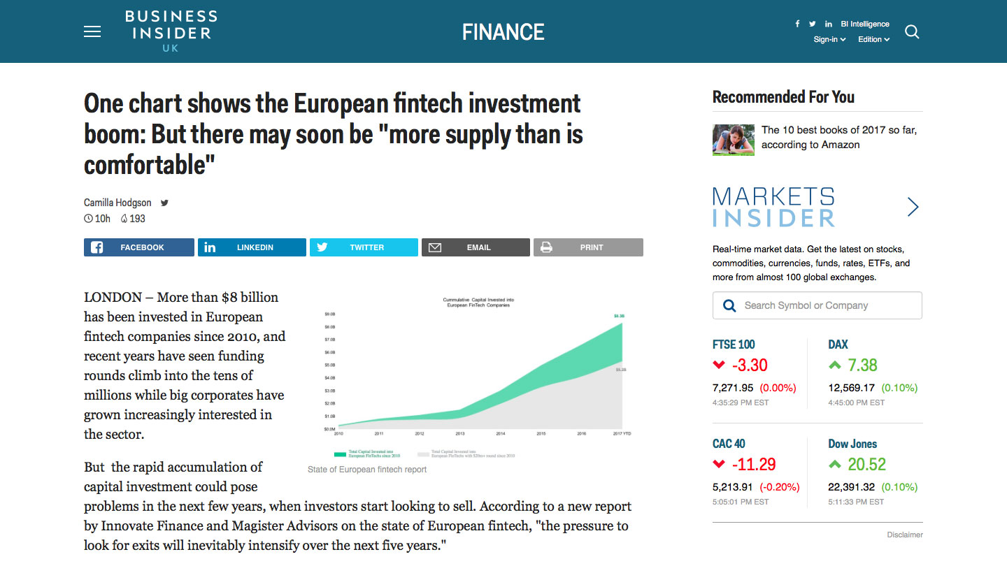 European Fintect Investment Boom, Business Insider UK