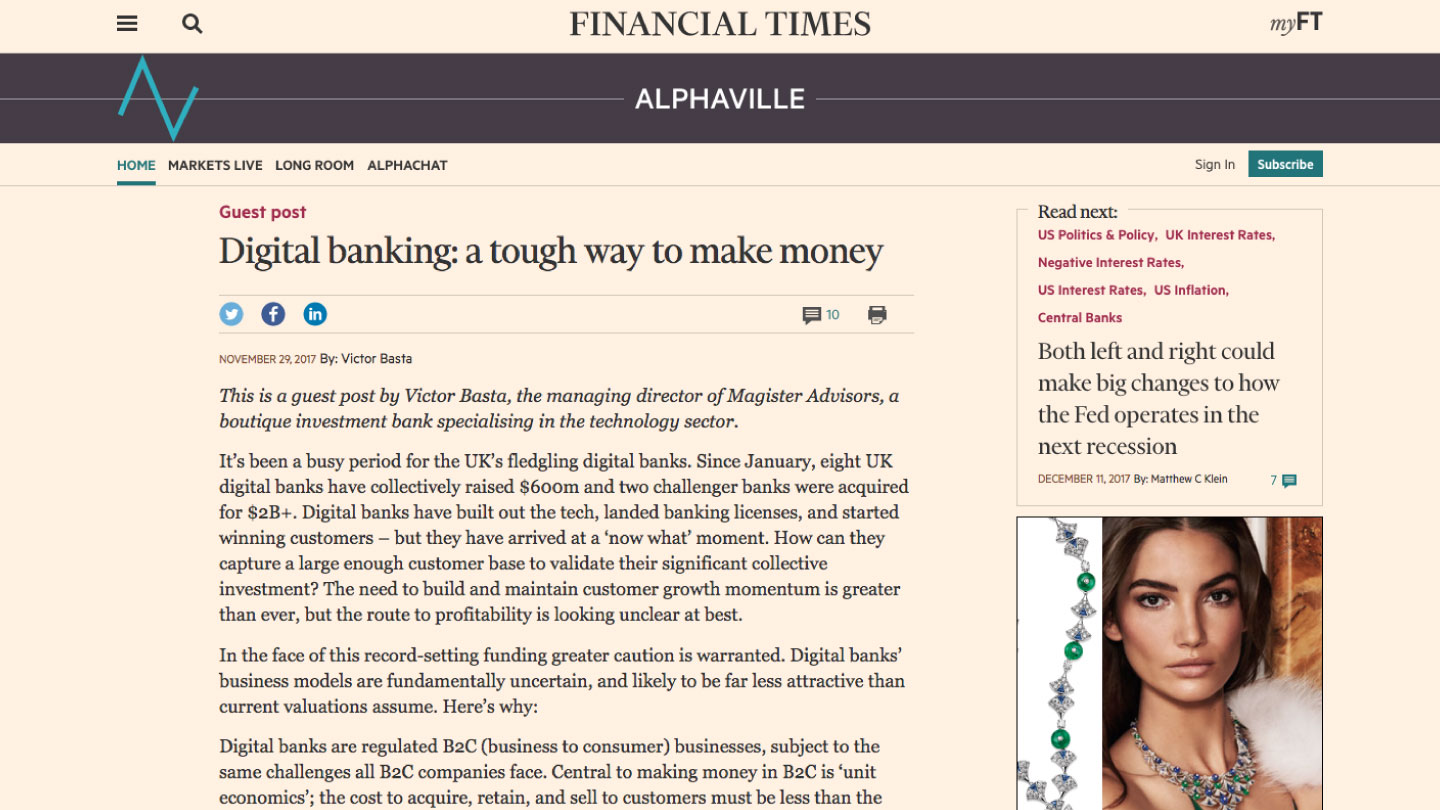 Digital banking, a tough way to make money
