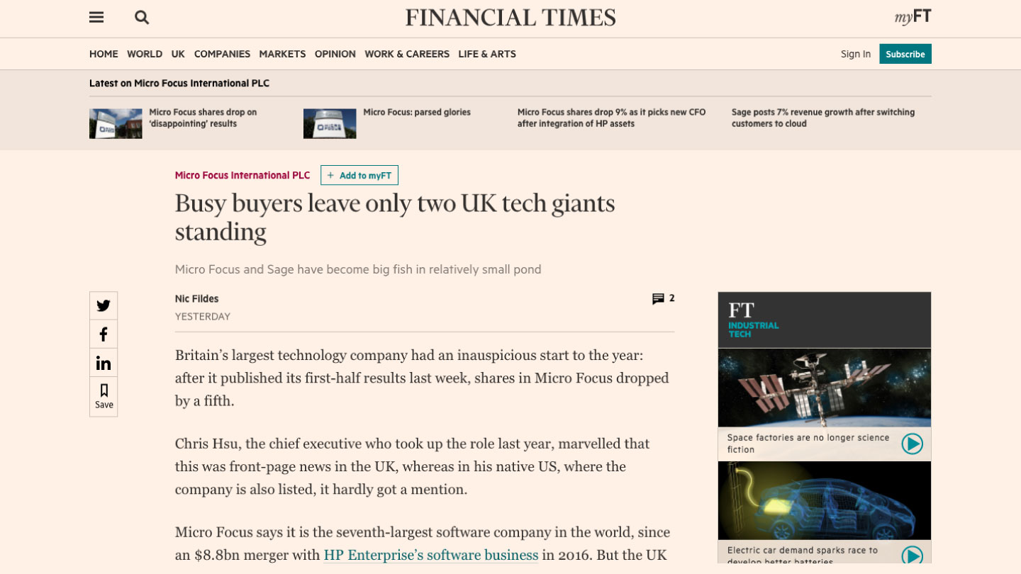 Busy buyers leave only two UK tech giants standing