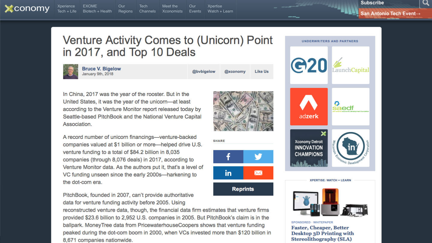 Venture Activity Comes to (Unicorn) Point in 2017, and Top 10 Deals