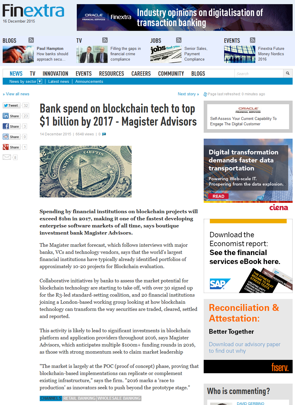 Bank spend on blockchain tech to top $1 billion by 2017 - Magister Advisors