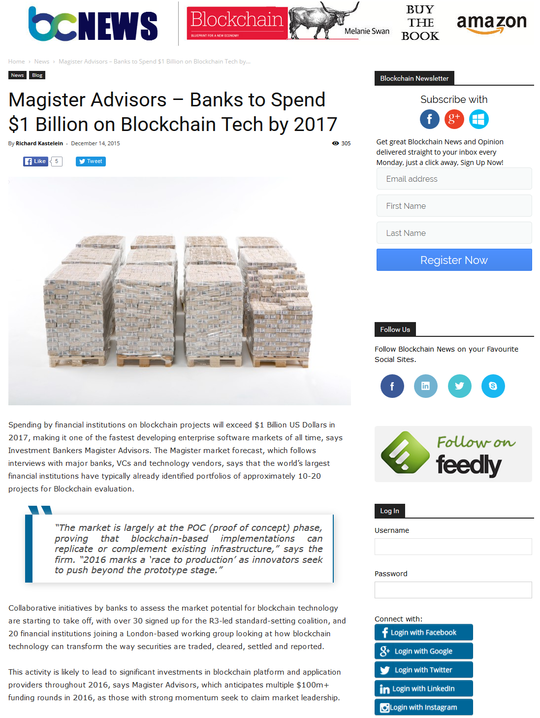 Magister Advisors – Banks to Spend $1 Billion on Blockchain Tech by 2017
