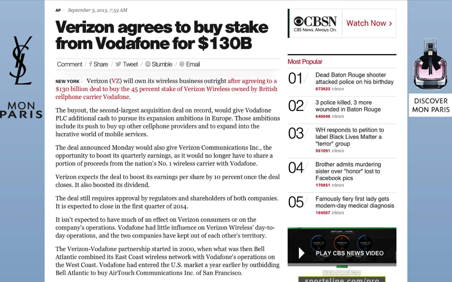 Verizon agrees to buy stake from Vodafone for $130B