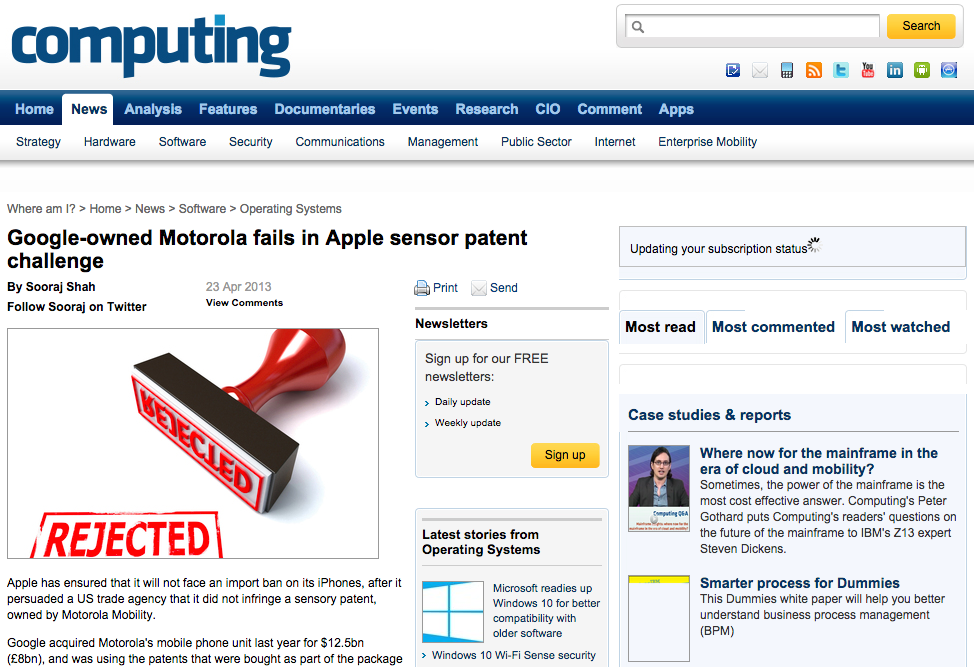 Google-owned Motorola fails in Apple sensor patent challenge