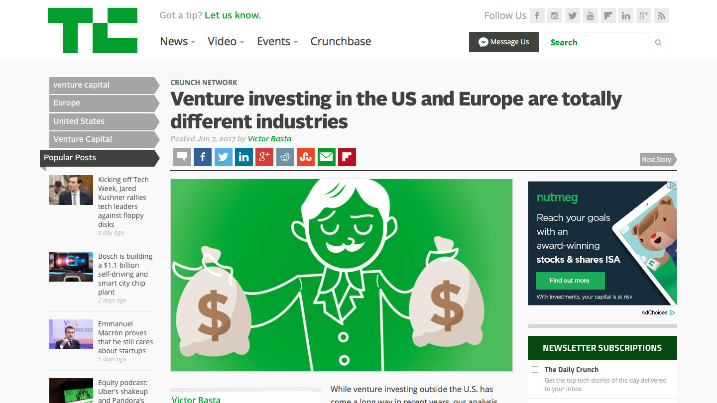 Venture investing in the US and Europe are totally different industries