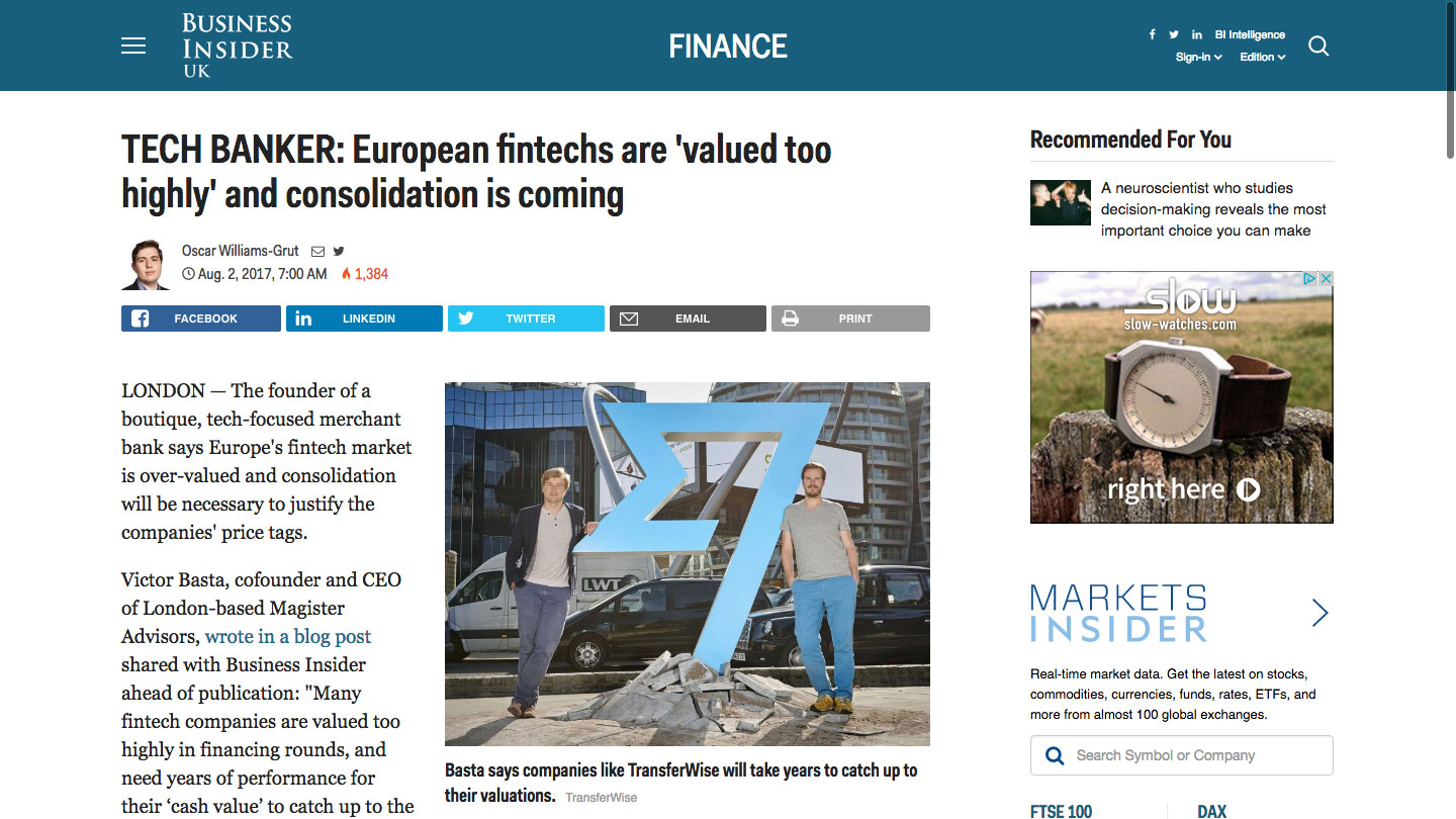 TECH BANKER: European fintechs are 'valued too highly' and consolidation is coming