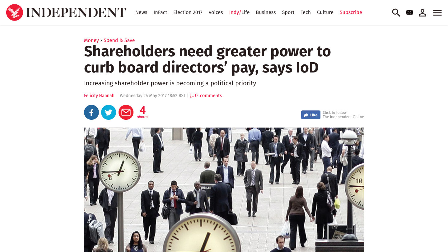 Shareholders need greater power to curb board directors' pay, says IoD