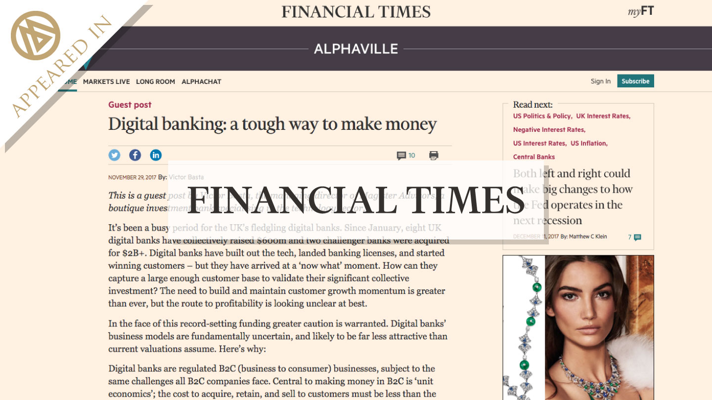 Digital Banking, a tough way to make money - as seen in FT Alphaville