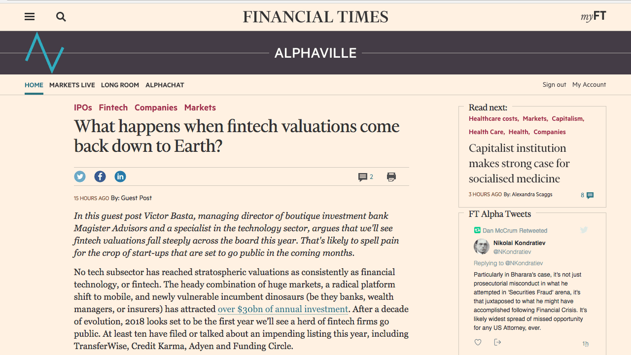 What happens when fintech valuations come back down to Earth